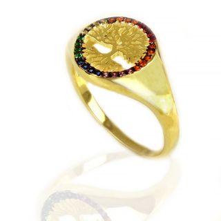 Δακτυλίδι ασημένιο επίχρυσο με πολύχρωμα ζιργκόν και  σχέδιο δέντρο της ζωής -