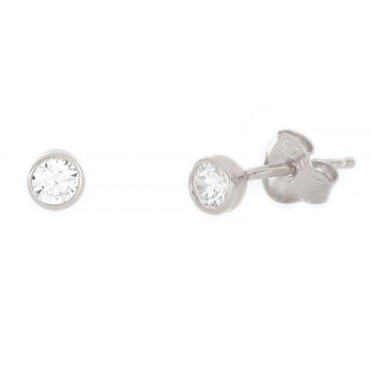 Ασημένια σκουλαρίκια καρφωτά με επιροδίωση και λευκό ζιργκόν 3mm