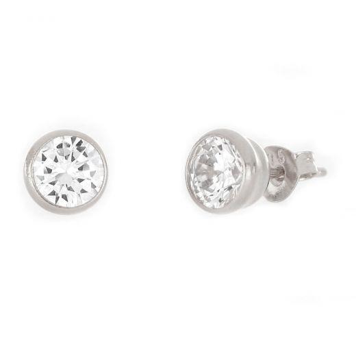 Ασημένια σκουλαρίκια καρφωτά με επιροδίωση και λευκό ζιργκόν 6mm