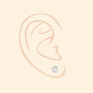 Ασημένια σκουλαρίκια καρφωτά με επιροδίωση και λευκό ζιργκόν 6mm -