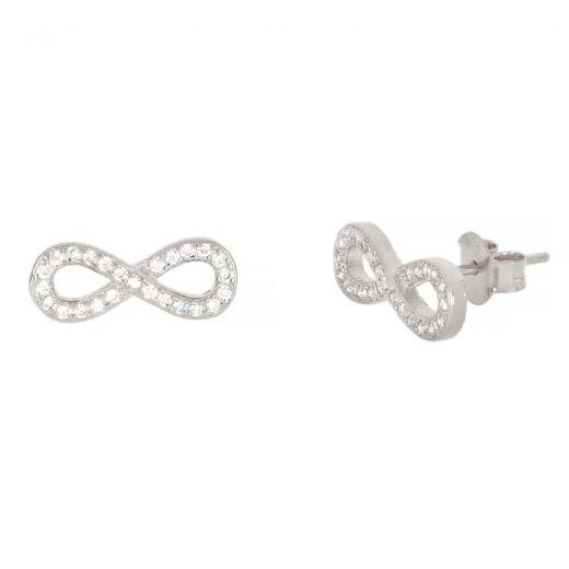 Ασημένια σκουλαρίκια καρφωτά με λευκά ζιργκόν και σχέδιο άπειρο