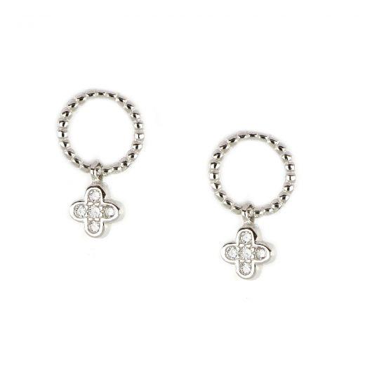 Ασημένια σκουλαρίκια καρφωτά επιροδιωμένα με κρεμαστό σταυρουδάκι λευκό ζιργκόν