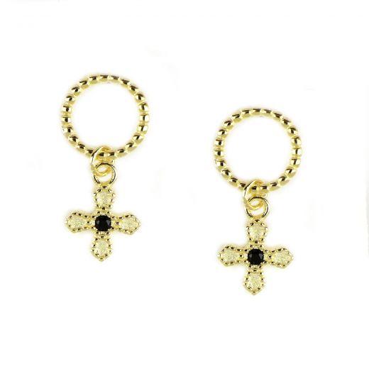 Ασημένια σκουλαρίκια καρφωτά επίχρυσα με μικρό σταυρό και μαύρο ζιργκόν