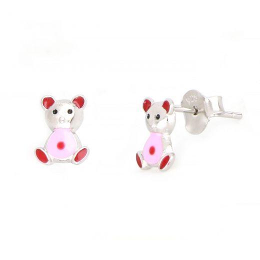 Σκουλαρίκια παιδικά  ασημένια επιροδιωμένα με σχέδιο ροζ αρκουδάκια