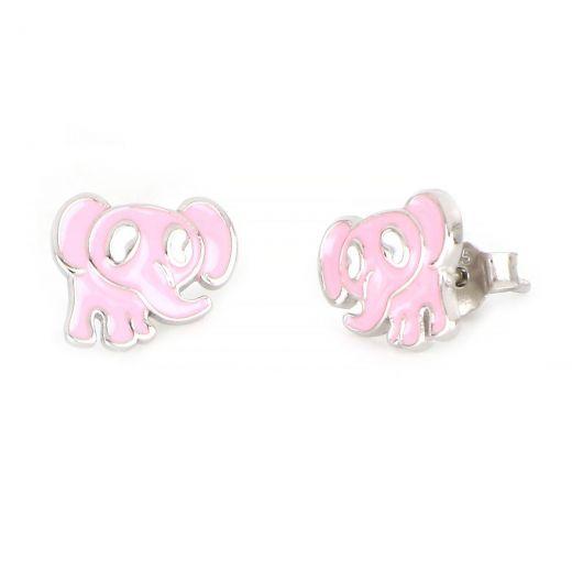Σκουλαρίκια παιδικά ασημένια επιροδιωμένα με σχέδιο ροζ ελεφαντάκια