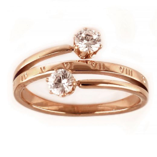 Δαχτυλίδι από ανοξείδωτο ατσάλι με ζιργκόν με ροζ επιχρύσωμα DA12007-03