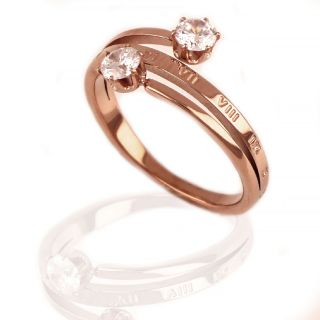 Δαχτυλίδι από ανοξείδωτο ατσάλι με ζιργκόν με ροζ επιχρύσωμα DA12007-03 -