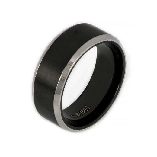 Ανδρικό δαχτυλίδι ατσάλινο ασπρόμαυρο
