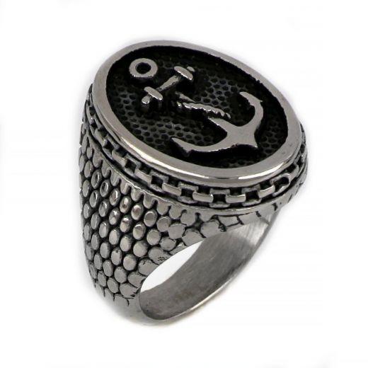 Ανδρικό δαχτυλίδι ατσάλινο άγκυρα με σχοινί