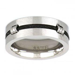 Ανδρικό Δαχτυλίδι από Ατσάλι με Μαύρο Ατσαλόσυρμα -