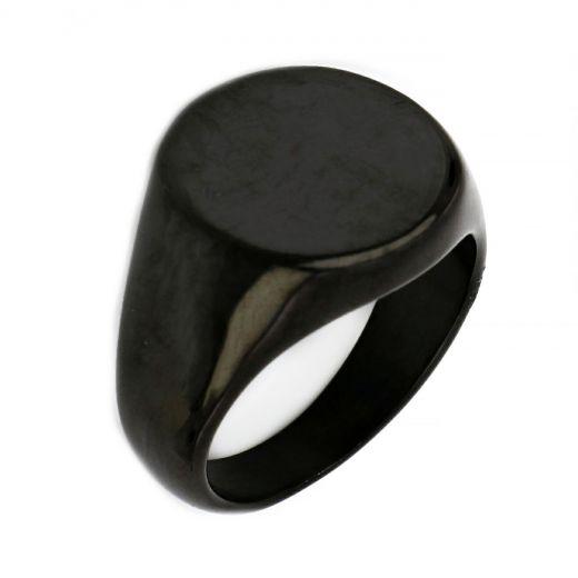 Ανδρικό δαχτυλίδι ατσάλινο απλό στρογγυλό μαύρο