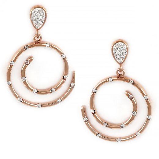 Σκουλαρίκια από ανοξείδωτο ατσάλι ροζ χρυσό σε σχήμα σπείρας με ζιργκόν.
