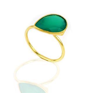 Δαχτυλίδι ασημένιο επιχρυσωμένο με πράσινο όνυχα σε σχήμα σταγόνας -