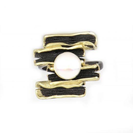Δαχτυλίδι ασημένιο με επιμετάλλωση ρουτενίου επιχρύσωμα και φυσικό μαργαριτάρι DA11054