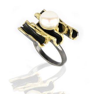 Δαχτυλίδι ασημένιο με επιμετάλλωση ρουτενίου επιχρύσωμα και φυσικό μαργαριτάρι DA11054 -