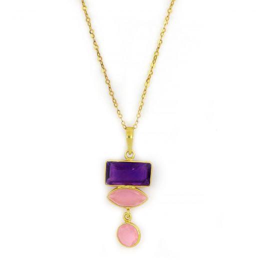 Χειροποίητο ασημένιο κολιέ επιχρυσωμένο με δύο πέτρες ροζ χαλκηδόνιο και μία αμέθυστο