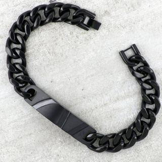 Bracelet made of black stainless steel with embossed plate in ID style -